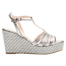 Buy Unisa Luarte Wedge Heel Sandals, Metallic Leather Online at johnlewis.com