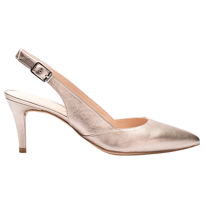 Unisa Kristen Slingback Court Shoes, Metallic Leather