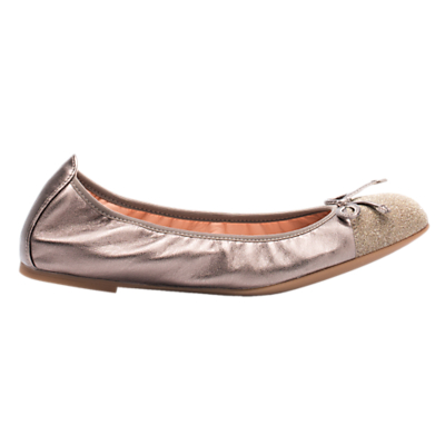 Unisa Auto Flat Ballet Pumps, Metallic Gold Leather