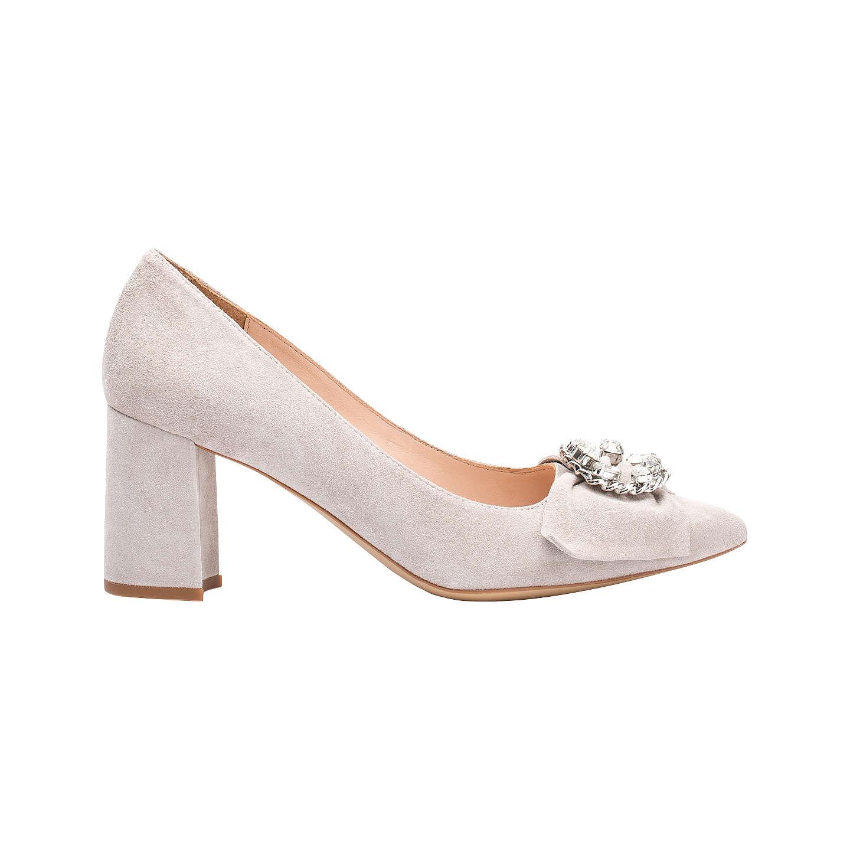 BuyUnisa Kibut Block Heeled Court Shoes, Fog, 4 Online at johnlewis.com ...