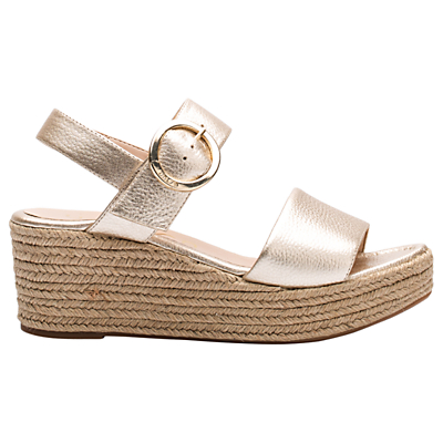 Unisa Kacera Wedge Heeled Sandals, Metallic Leather