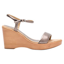 Buy Unisa Rita Wedge Heel Sandals, Metallic Leather Online at johnlewis.com