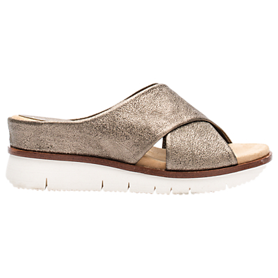 Unisa Bartali Slip On Wedge Sandals, Bronze Leather