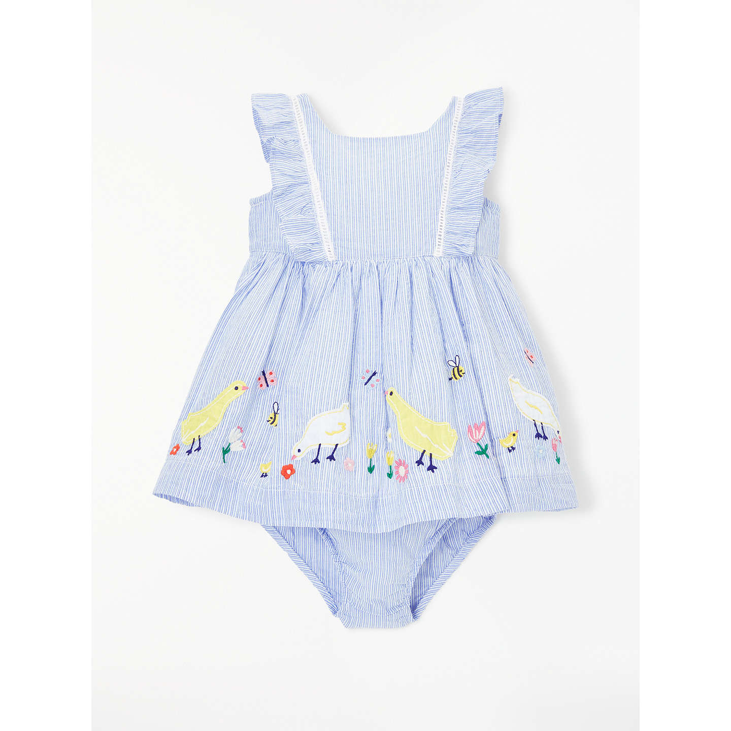 John Lewis Baby Duck Border Dress and Knickers Blue at John Lewis
