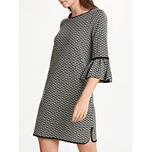 Buy Max Studio Bell Sleeve Jacquard Dress, Black/White Online at johnlewis.com