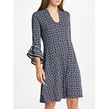 Buy Max Studio Bell Sleeve Jersey Dress, Blue/Multi Online at johnlewis.com