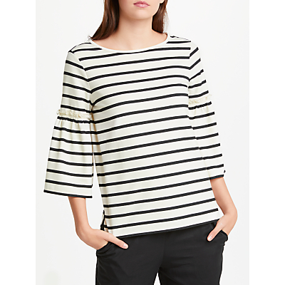 Max Studio Bell Sleeve Stripe Jersey Top, Natural/Black