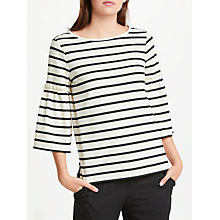 Buy Max Studio Bell Sleeve Stripe Jersey Top, Natural/Black Online at johnlewis.com