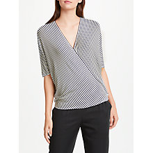 Buy Max Studio Stripe Wrap Blouse, Navy/White Online at johnlewis.com