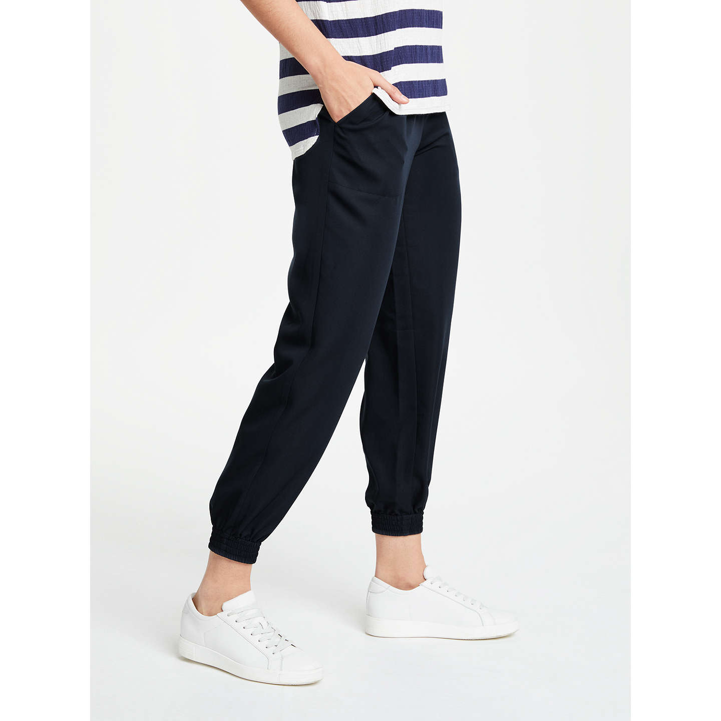 BuyMax Studio Cuff Hem Twill Trousers, Navy, XS Online at johnlewis.com