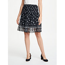 Buy Max Studio Floral Print Pleated Skirt, Black Online at johnlewis.com