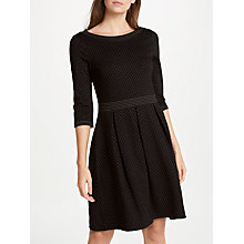 Buy Max Studio 3/4 Sleeve Pin Dot Dress, Black/Taupe Online at johnlewis.com