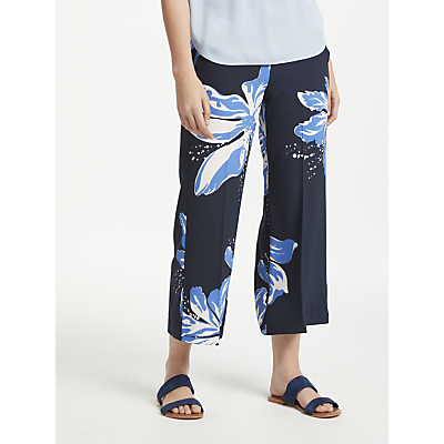 Marella Cropped Floral Trousers, Navy
