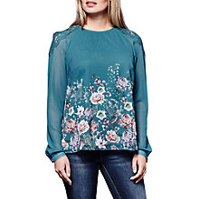 Buy Yumi Oriental Flower Lace Blouse, Jade Online at johnlewis.com