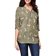 Buy Yumi Bird Print Zip Front Top, Khaki Online at johnlewis.com