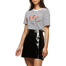 Buy Miss Selfridge Vinyl A-Line Skirt, Black Online at johnlewis.com