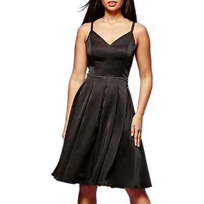 Yumi Jewelled Satin Dress, Black