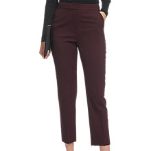 Buy Whistles Wool Flannel Slim Leg Trousers, Burgundy Online at johnlewis.com