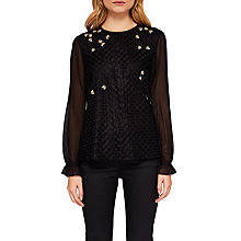 Buy Ted Baker Lunaah Queen Bee Embellished Top, Black Online at johnlewis.com