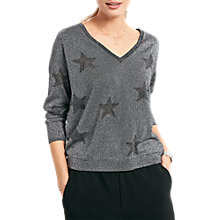 Buy hush Star V-Neck Jumper, Black/Silver Online at johnlewis.com
