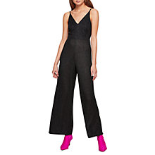Buy Miss Selfridge Glitter Strappy Jumpsuit, Black Online at johnlewis.com