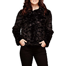 Buy Yumi Textured Faux Fur Jacket, Black Online at johnlewis.com