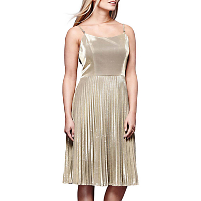 Yumi Sparkly Pleated Party Dress, Gold