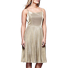 Buy Yumi Sparkly Pleated Party Dress, Gold Online at johnlewis.com