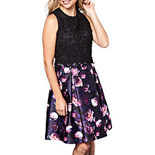 Buy Yumi Lace Bodice Floral Print Dress, Black/Multi Online at johnlewis.com