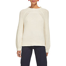 Buy Whistles Fashioned Rib Blouson Sleeve Jumper, Ivory Online at johnlewis.com