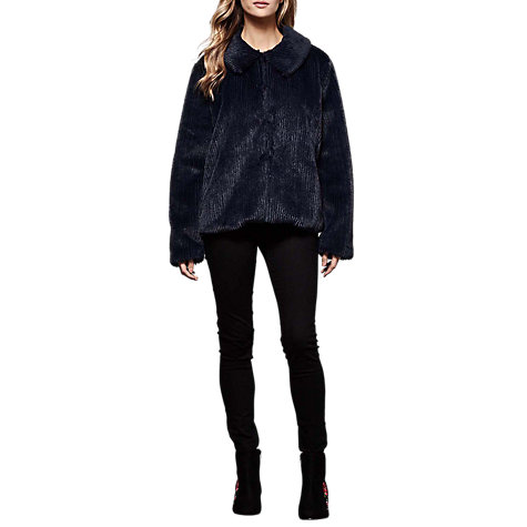Buy Yumi Faux Fur Stripe Jacket, Dark Navy Online at johnlewis.com