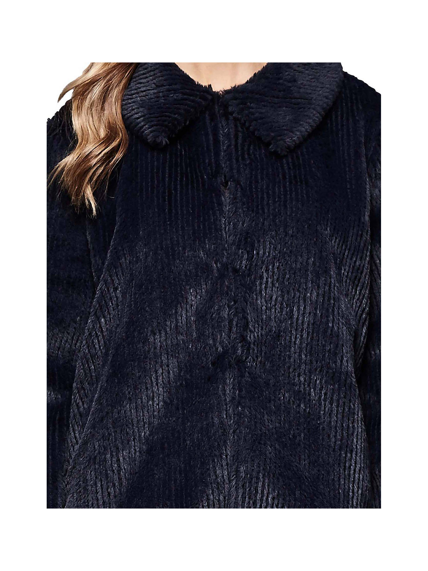 BuyYumi Faux Fur Stripe Jacket, Dark Navy, 8 Online at johnlewis.com