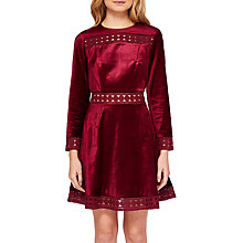 Buy Ted Baker Lullita Geo Lace Long Sleeve Dress, Maroon Online at johnlewis.com