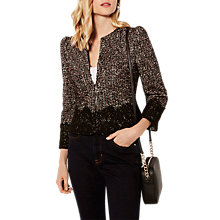 Buy Karen Millen Tweed And Lace Jacket, Black/Multi Online at johnlewis.com