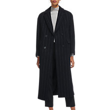 Buy Whistles Double Breasted Maxi Coat, Navy Stripe Online at johnlewis.com