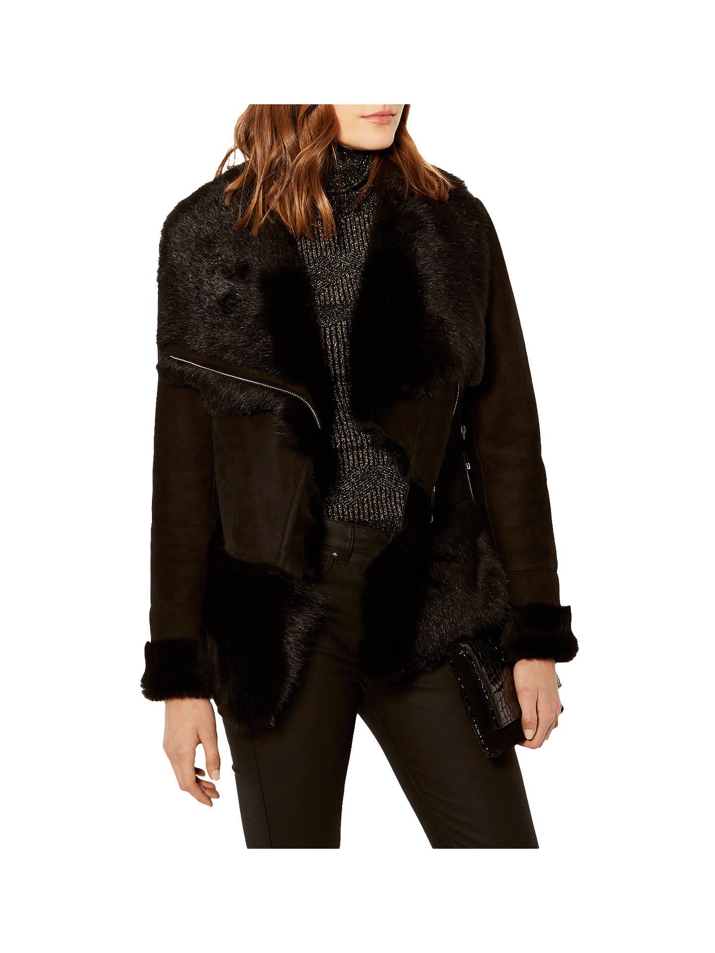 51a7e9314c3 Buy Karen Millen Luxury Shearling Leather Jacket, Black, 6 Online at  johnlewis.com ...