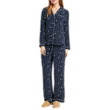 Buy hush Scatter Star Silk Pyjamas, White/Midnight Online at johnlewis.com