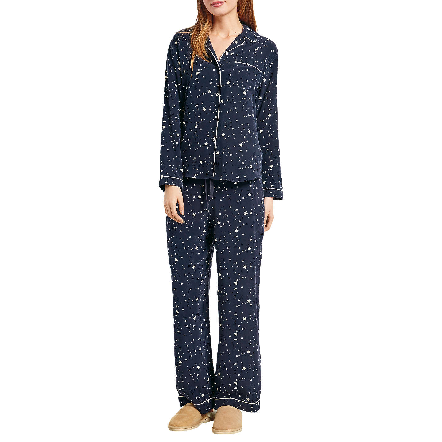 Buyhush Scatter Star Silk Pyjamas, White/Midnight, XS Online at johnlewis.com