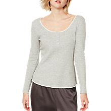 Buy Hygge by Mint Velvet Ribbed Long Sleeve Jersey T-Shirt, Light Grey Online at johnlewis.com