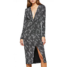 Buy Miss Selfridge Long Sleeve Twisted Pencil Dress, Silver Online at johnlewis.com