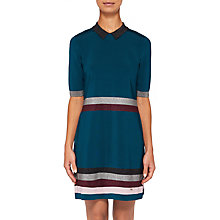Buy Ted Baker Erin Metallic Stripe Knitted Dress, Teal Blue Online at johnlewis.com