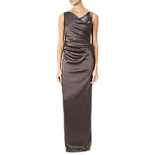 Buy Adrianna Papell Stretch Satin Long Dress, Taupe Online at johnlewis.com