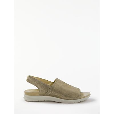 John Lewis Designed for Comfort Lainie Sling Back Flat Sandals, Gold Leather