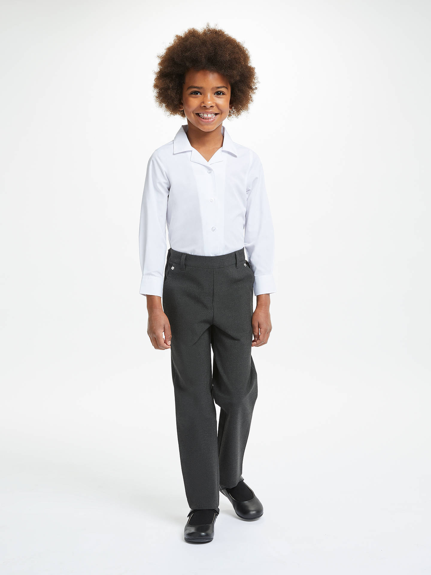 BuyJohn Lewis & Partners Girls' Easy Care Pull On School Trousers, Grey, 3 years Online at johnlewis.com