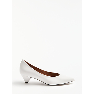 Kin by John Lewis Ara Cone Heel Court Shoes, White Leather