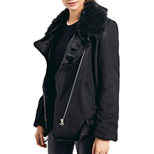 Buy hush Wool Blend Biker Jacket, Black Online at johnlewis.com