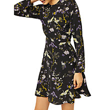 Buy Warehouse Floral Bird Print Dress, Black/Multi Online at johnlewis.com