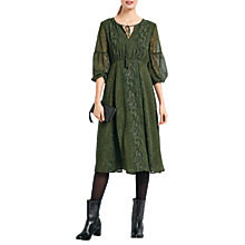 Buy hush Freesia Midi Dress, Green Snake Online at johnlewis.com