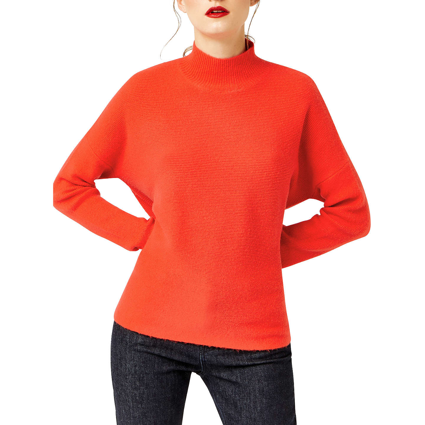 BuyWarehouse Boxy Funnel Neck Ribbed Jumper, Bright Red, S Online at johnlewis.com