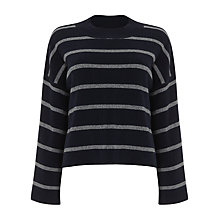 Buy Phase Eight Francina Striped Flare Sleeve Knit Jumper, Navy Online at johnlewis.com